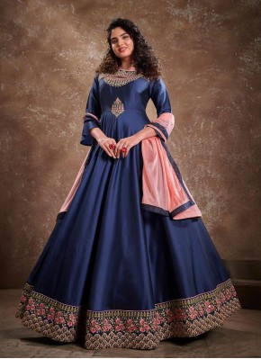 Blue Silk Embroidered Readymade Anarkali Suit
