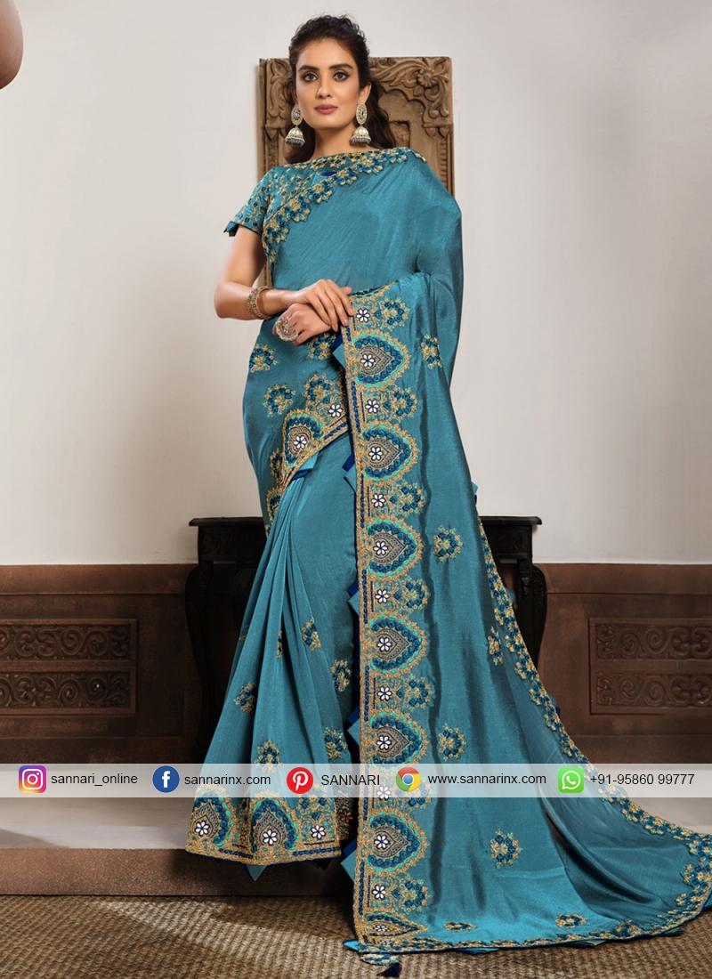 Blue Silk Mehndi Classic Designer Saree