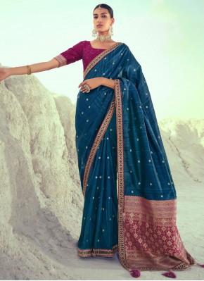 Blue Silk Mehndi Designer Traditional Saree