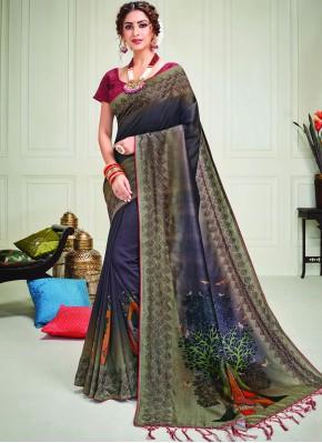 Blue Silk Print Contemporary Saree