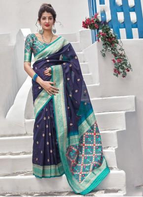 Blue Silk Reception Contemporary Style Saree