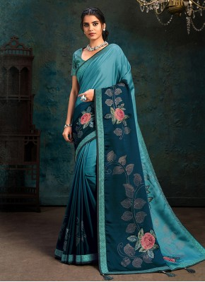 Blue Silk Stone Work Shaded Saree