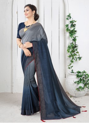 Blue Swarovski Festival Shaded Saree