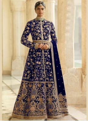 Blue Velvet Desinger Anarkali Salwar Kameez