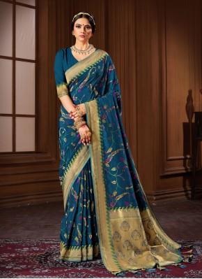 Blue Weaving Banarasi Silk Traditional Saree