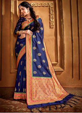 Blue Weaving Silk Classic Designer Saree