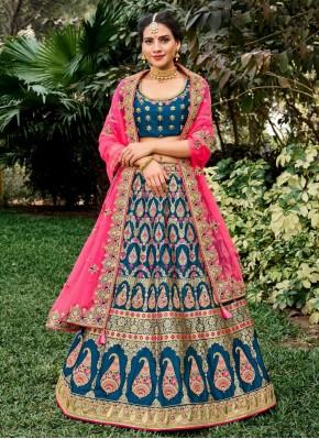Blue Wedding A Line Lehenga Choli