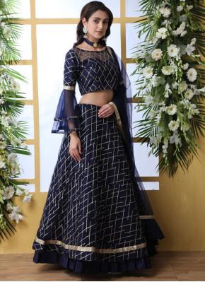 Blue Wedding Net Lehenga Choli