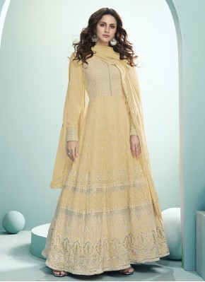 Bollywood Salwar Kameez Embroidered Georgette in Mustard