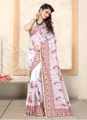 Bollywood Saree Resham Georgette in White