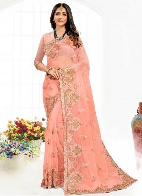 Bollywood Saree Resham Net in Peach