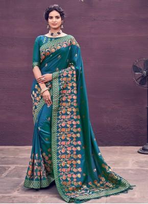 Bollywood Saree Woven Banarasi Silk in Blue