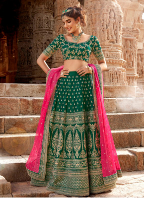 Bottle Green Color Designer Wedding wear Lehngha