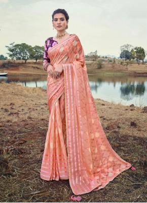 Brasso Foil Print Printed Saree in Pink