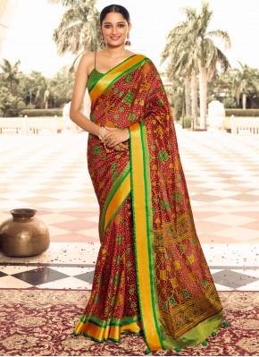 Brasso Print Designer Traditional Saree in Multi Colour