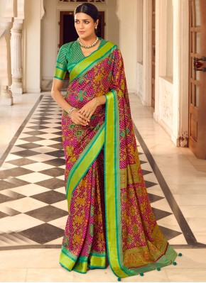 Brasso Print Multi Colour Traditional Saree