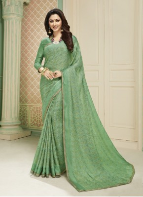 Brasso Sea Green Printed Saree