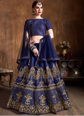 Breathtaking Art Silk Embroidered Blue Lehenga Choli