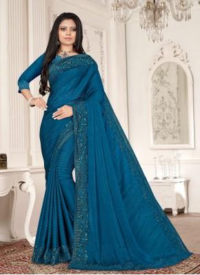 Breathtaking Blue Ceremonial Designer Saree