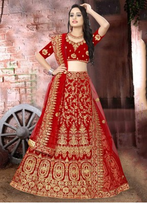 Breathtaking Embroidered Velvet Red Lehenga Choli