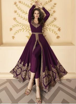 Breathtaking Resham Purple Faux Georgette Anarkali Suit