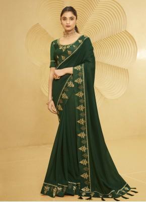 Breathtaking Silk Green Patch Border Traditional Designer Saree
