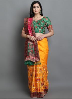Breathtaking Silk Patola Print Yellow Designer Traditional Saree