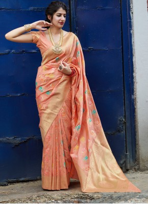 Breathtaking Silk Peach Weaving Classic Saree