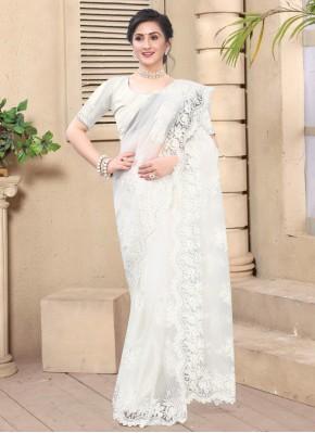 Brilliant Embroidered White Net Contemporary Saree