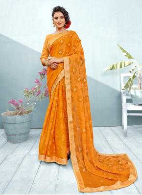 Brilliant Mustard Fancy Classic Designer Saree