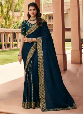 Brilliant Navy Blue Embroidered Classic Saree