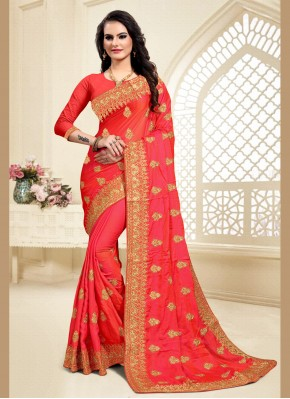 Brilliant Satin Silk Red Zari Classic Saree