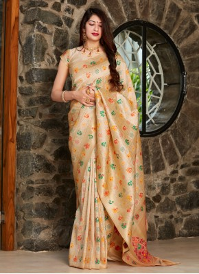 Brilliant Silk Weaving Beige Traditional Designer Saree