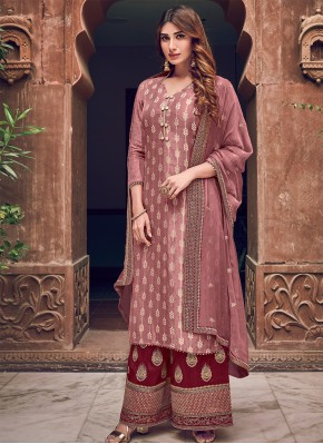 Brilliant Silk Woven Designer Straight Salwar Suit