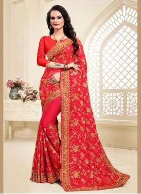 Brilliant Zari Satin Silk Red Classic Designer Saree