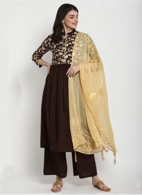 Brown Cotton Bollywood Salwar Kameez