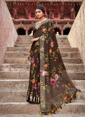 Brown Cotton Casual Printed Saree