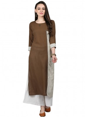 Brown Cotton Ceremonial Party Wear Kurti