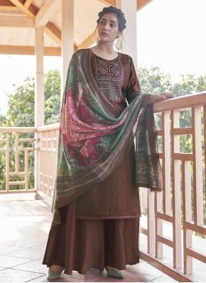 Brown Cotton Designer Pakistani Suit