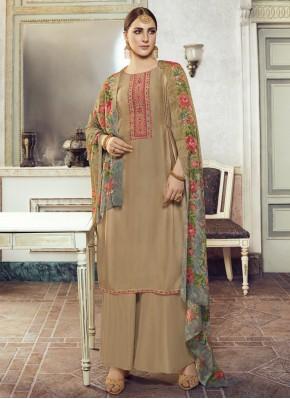 Brown Embroidered Ceremonial Designer Pakistani Suit