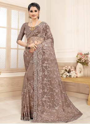 Brown Embroidered Festival Trendy Saree