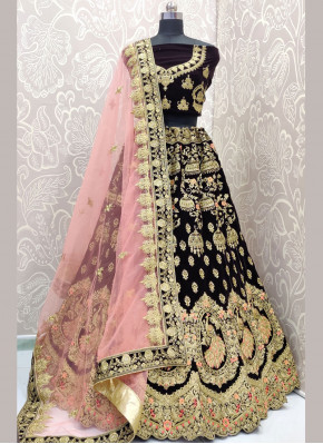 Brown Embroidered Lehenga Choli