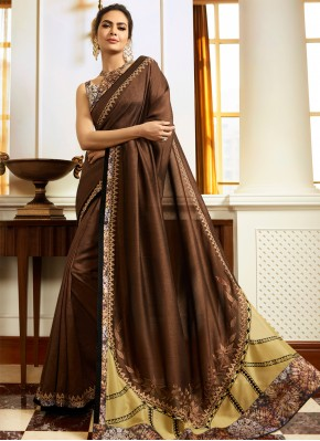 Brown Embroidered Silk Traditional Saree