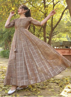 Brown Festival Chanderi Trendy Gown