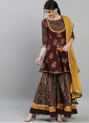 Brown Festival Cotton Readymade Suit