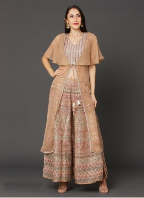 Brown Georgette Reception Designer Salwar Suit