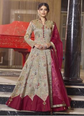 Brown Jacquard Festival Readymade Anarkali Salwar Suit