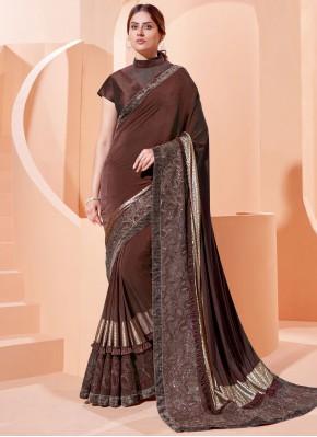 Brown Mehndi Traditional Designer Saree