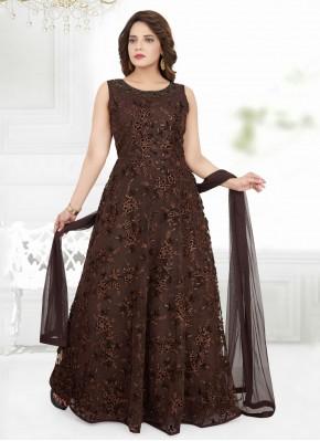 Brown Net Anarkali Suit