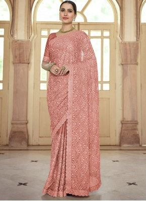 Brown Resham Faux Chiffon Trendy Saree